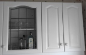 Kitchen cupboard with glazing